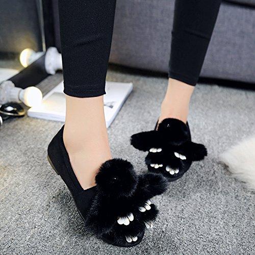 Y-Hui cotone d'inverno pantofole scarpe piatte Pattini di slittamento Piselli primavera,40 Codice Standard,Nero (coniglio)