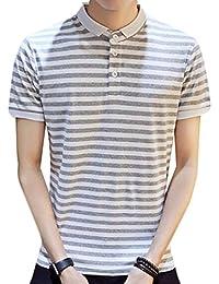 Acquaa Men's Casual Stripe Short Sleeve Polo Collar Neck T-Shirt