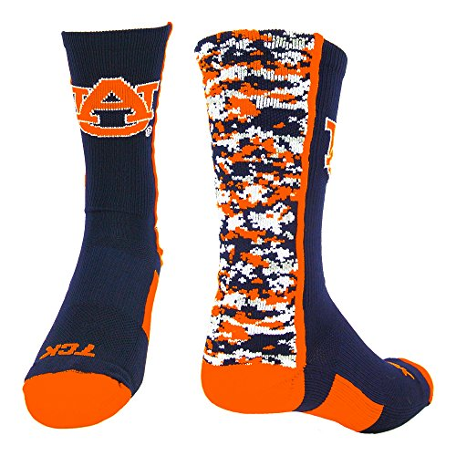 Auburn Digital Camo Crew Socks (Navy/Orange/White, Large)