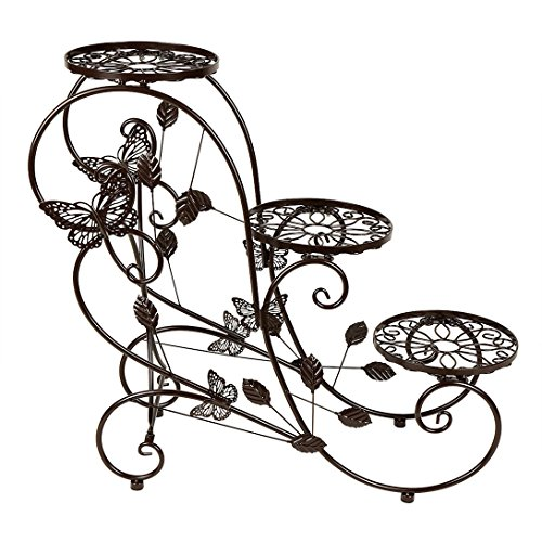 (Funmall 3-Tiered Plant and Flower Stand Plant Flower Pot Rack with Classic Design,Bronze)