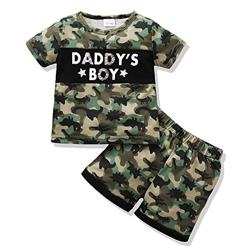 Renotemy Toddler Baby Boy Clothes Summer Outfits Cotton Short Sleeve T-Shirt Dinosaurs Shorts Set Boy Clothes OutfitsSet