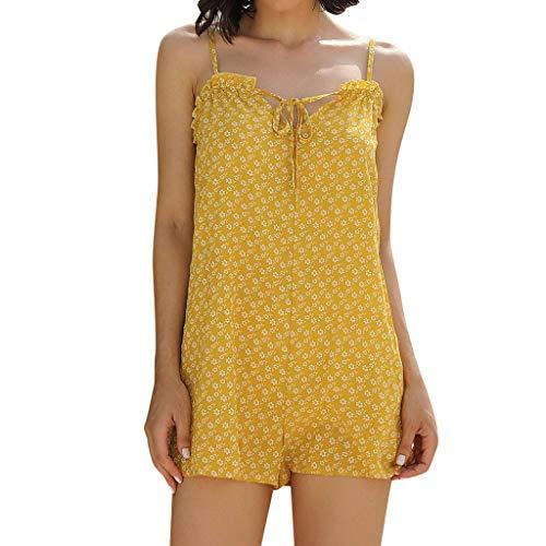 ts ♦ Brazil Cute Sexy Short Dress Floral Tunic Mini Playsuit Lovely Tank Top Summer Party Beachwear Yellow ()
