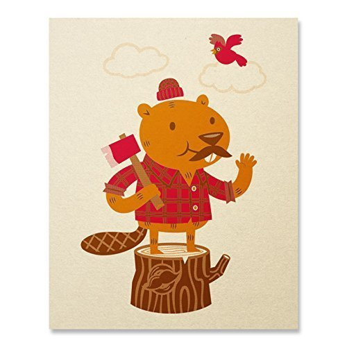 - Beaver Art Print Boys Room Prints Small Whimsical Nursery Wall Art Cute Forest Animals Print Happy Prints Kids Cute Lumberjack Picture For Kids Home Decor 8 x 10 Inches
