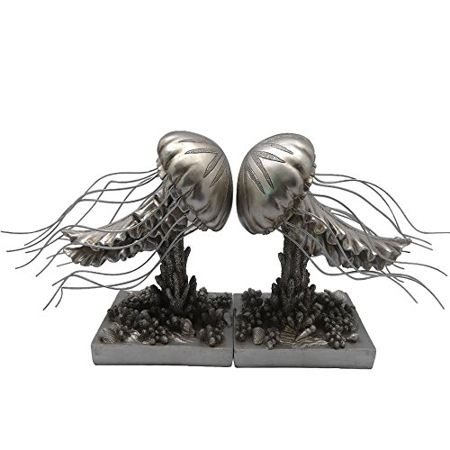 Charming Silver Jelly Fish Bookend Set by Home Decor and Beyond
