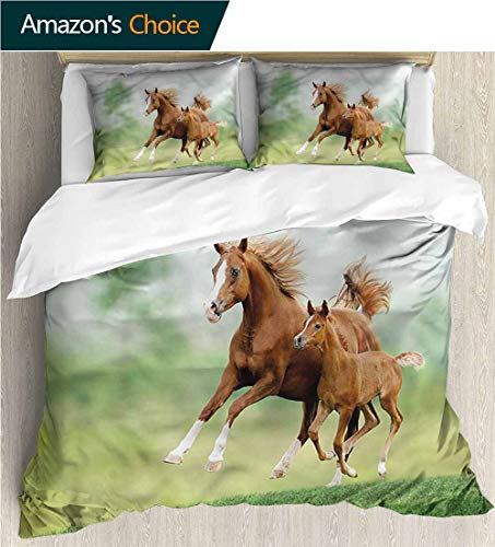 (3 Pcs King Size Comforter Set,Box Stitched,Soft,Breathable,Hypoallergenic,Fade Resistant Luxury Decor Bedding Set 1 Duvet Cover 2 Pillow-Horse Mare And Foal Summer Meadow (104