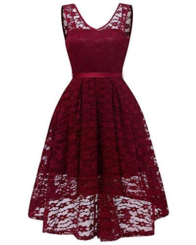 Burgundy Illusion - MILANO BRIDE Women's Retro Lace V-Neck Sleeveless Illusion Evening Graduation Party Swing Dresses-XXL-Burgundy