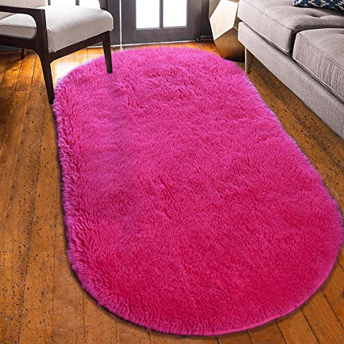 YOH Super Soft Area Rugs Silky Smooth Bedroom Mats for Living Room Kids Room Multicolor Optional Home Decor Carpets 2.6'x5.3' (Rose Red)