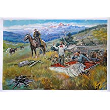 Call of the Law - Charles M. Russell high quality hand-painted oil painting reproduction,North American snow covered Mountains,living room large wall art