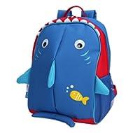 Little Kids School Bag Pre-K Toddler Backpack - Name Tag and Chest Strap, Shark