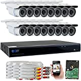 GW Security 16 Channel CCTV 5MP (2.5X 1080P) Security Surveillance DVR System with 16 x Super 5.0MP HD 1920p (2592TVL) Weatherproof Security Cameras,110ft IR Night Vision,4TB HDD