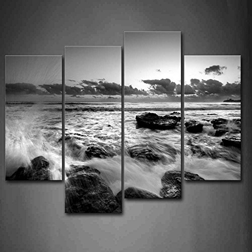 Black And White Sea Wave Rush Into Stone Wall Art Painting Pictures Print On Canvas Seascape The Picture For Home Modern Decoration (Black And White Panel Wall Art)