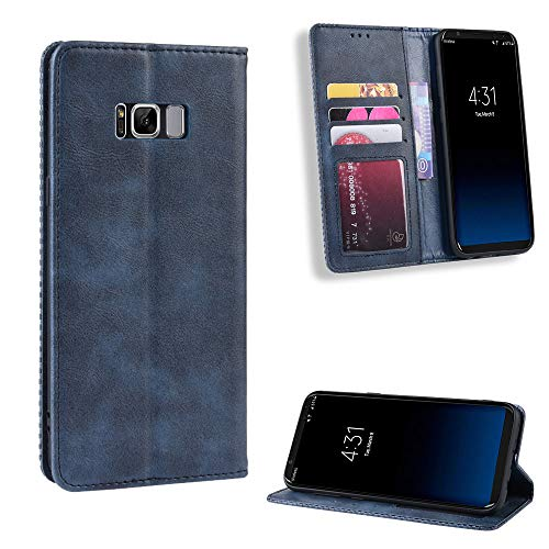Scheam Leather Case Compatible with Samsung Galaxy S Lite Luxury Edition Samsung Galaxy S8, Premium Folio Leather Wallet Case with [Kickstand] [Card Slots] [Magnetic Closure] Flip Notebook Cover Blue