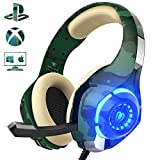 Gaming Headset for PS4 PC Xbox one, Beexcellent Stereo Sound Over Ear Headphones with Noise Reduction Microphone Volume Control and LED Light for Laptop Tablet Mac iPad (Camo) For Sale
