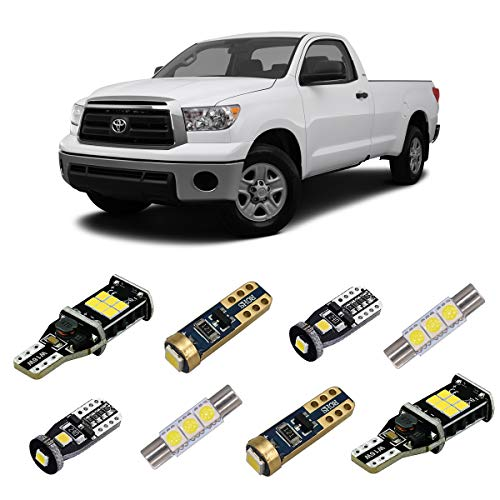 iBrightstar 2007-2013 Toyota Tundra Super Bright Canbus LED Bulbs Package Kit replacement for Interior Lights + License Plate Lights + Cargo Lights + Back Up Reverse Lights, Xenon White