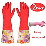 Kitchen Rubber Cleaning Gloves with Lining Household Thickening PU Waterproof Dishwashing Latex Glove 2 Pairs