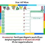 HITSAN magnetic chores chart dry erase board wall sticker kids weekly planner to do list reward chart 60 40 cm 6040ZLB01-2