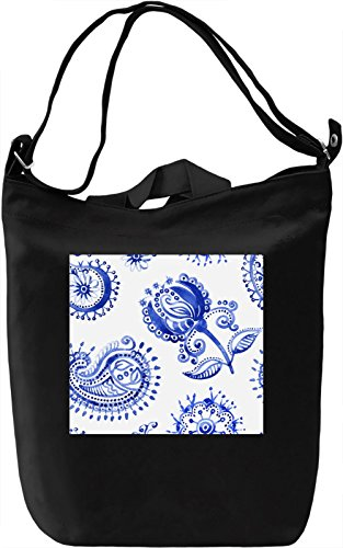 Blue Flowers Pattern Borsa Giornaliera Canvas Canvas Day Bag| 100% Premium Cotton Canvas| DTG Printing|