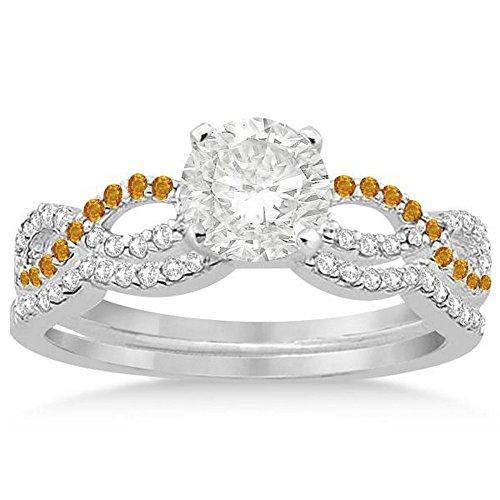 Infinity Twist Diamond and Citrine Engagement Ring and Diamond Contour Wedding Band Platinum (0.34ct) -