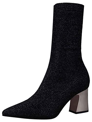 Aisun Women s Pointed Toe Mid Calf Boots - Glitter Sequined Pull On -  Nightclub Medium Block e143c6341e7a