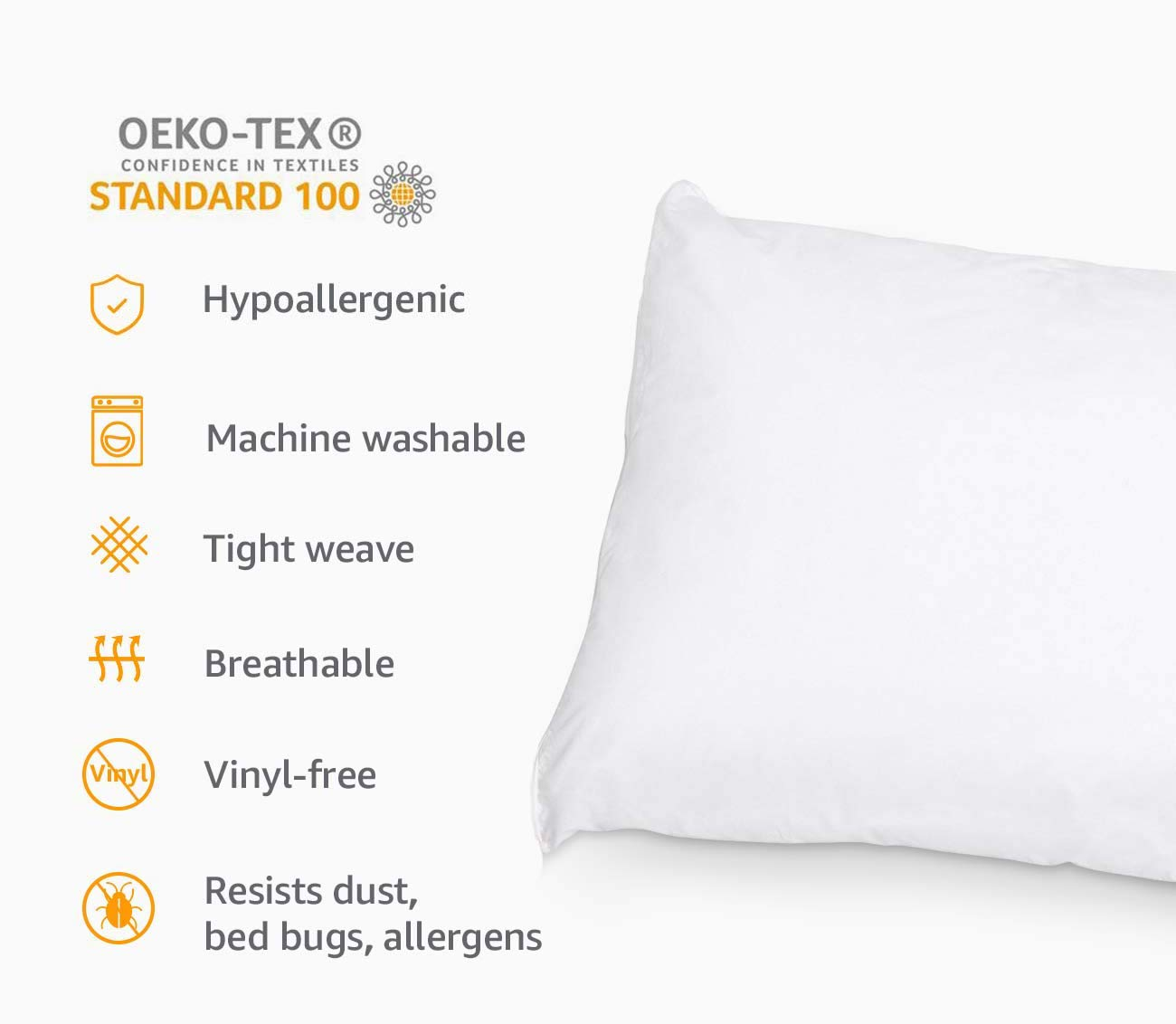 RohiLinen NEW MEDICAL Living Orthopaedic 3FT Single Bed Size Bolster Support PillowIncludes Complimentary Latte Pillow Case FREE