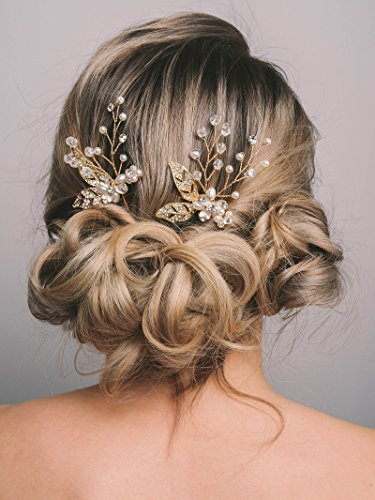 SWEETV Gold Hair Pins Leaf Hair Accessories for Wedding Brid