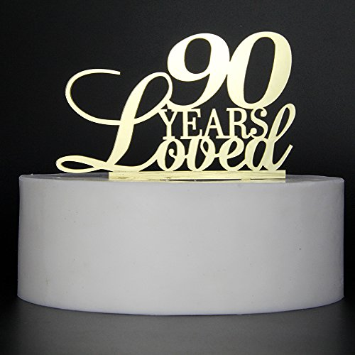 LOVELY BITON Mirrored Gold 90 Years Loved Cake Topper Shining Numbers Letters for Wedding, Birthday, Anniversary, Party.