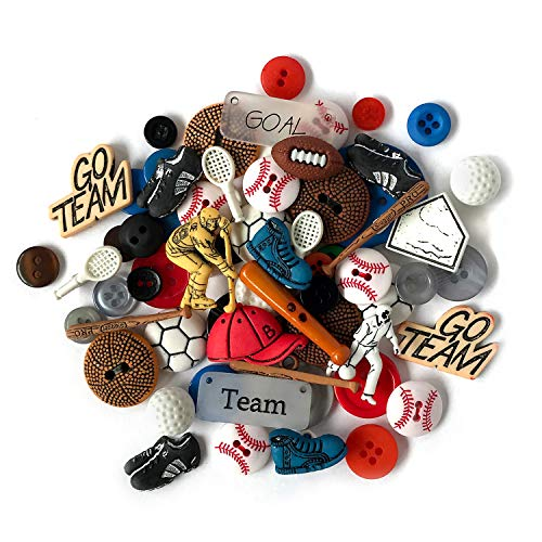 Buttons Galore 50-Value Pack Sports Button