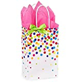 Rainbow Confetti Paper Shopping Bags - Rose Size - 5 1/4 x 3 1/2 x 8 1/4in. - 150 Pack