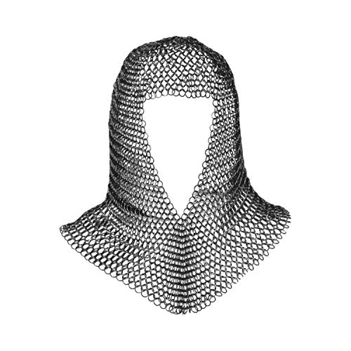 Chainmail Coif Armor Mild Steel Butted 16 Gauge Soldier Grade, Large