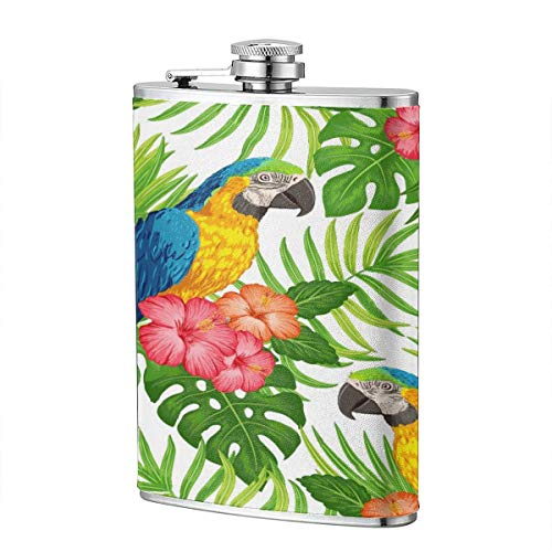 Cartoon Parrot In The Bush R 8 Oz Portable Stainless Steel Liquor Bottle Pocket Flagon For Wine Alcohol Pocket Flagon Whiskey Container