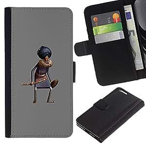 Sombrero de la historieta cómica Rey Oriental- la tarjeta de Crédito Slots PU Funda de cuero Monedero caso cubierta de piel Para Apple (5.5 inches!!!) iPhone 6+ Plus / 6S+ Plus