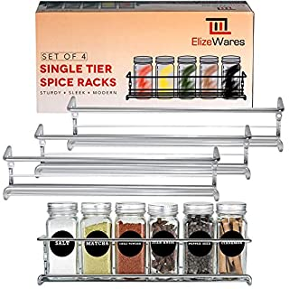 Spice Rack Organizer for Cabinet- Spice Rack Wall Mount - Set of 4 Hanging Spice Rack in Chrome - Cabinet Door Organizer - Spice Shelf for your Kitchen Cabinet, Cupboard & Pantry