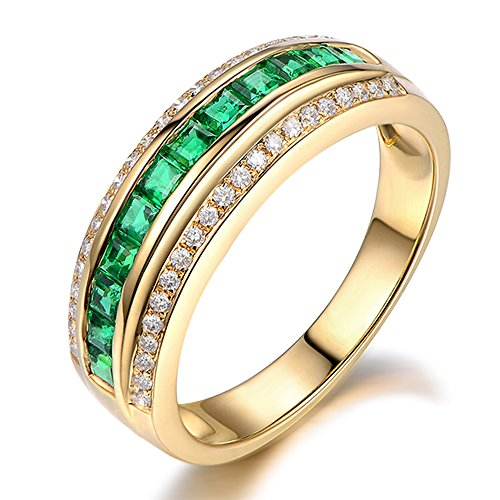 - Elegant Fashion Natural Emerald Gemstone Princess Cut 14K Solid Yellow Gold Wedding Promise Emerald Diamond Band Ring Set for Women