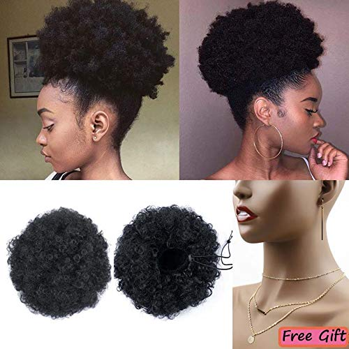 - Moshina Graceful African American Black High Puff Ponytail with 2 Clips - High Wrap Updo Hairpieces - Kinky Curly Synthetic Kanekalon Fiber - Afro Bun for Black Women -Natural Chignon (Color 1b)