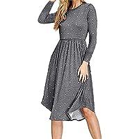 Simier Fariry Women Long Sleeve Pleated Polka Dot Pocket Swing Casual Midi Dress