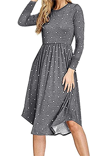 Simier Fariry Women Long Sleeve Pockets Loose Flowy Casual Tunic Dress Gray S by Simier Fariry