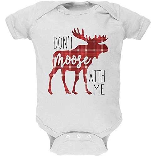 Old Glory Autumn Don't Moose With Me Soft Baby One Piece White 3 - Moose Dont