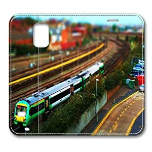 Leather Samsung Galaxy S5 Flip Case Cover, Little Train And Cars Tilt Shift Miniature Premium Leather Flip Case Cover for Samsung Galaxy S5 / S V / I9600 with Stand Feature/ Auto Wake Up / Sleep, Original Design And Made By PhilipHayes