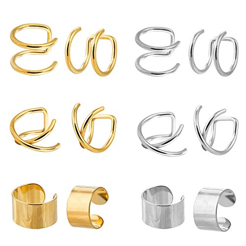 JININA Cartilage Earrings Hoops Stainless Steel Ear Cuff Tragus Helix Earrings for Women Men-Gold, Silver