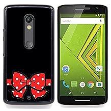 For Motorola Verizon DROID MAXX 2 / Moto X Play - Minnie Black Polka Dot Red Bow Gift Case Cover Protection Design Ultra Slim Snap on Hard Plastic - God Garden -