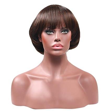 Staresen Pelucas Golden Rule de pelo lacio sintético negro corto Bob pelucas peluca de la parte