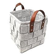 ECOHIP 2-Pack Large Felt Woven Storage Basket Decorative Cloth Bin Foldable Fabric Cube Closet Organizer