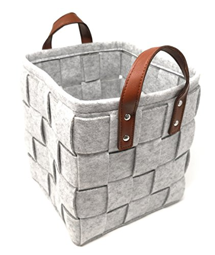 ECOHIP 2-Pack Large Felt Woven Storage Basket Decorative Cloth Bin Foldable Fabric Cube Closet (Felt Wire)