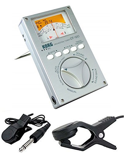 KORG OT-120 ORCHESTRAL CHROMATIC TUNER OT120 with Flanger FA-01 Clip On Contact Microphone (Chromatic Tuner Orchestral)