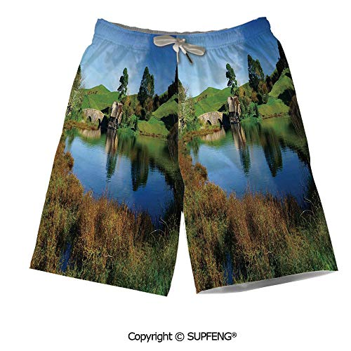 FashSam Beach Shorts Hobbit Land Village House by Lake with for Beach activites]()
