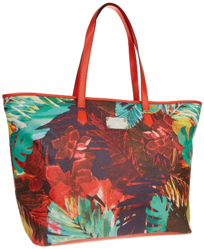 Vince Camuto Vivi Tote,Tropical Print/Spicy Orange,One Size, Bags Central