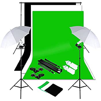 Excelvan Photography Lighting Kit 10x6.5FT 1250W Daylight Umbrella Backdrop Support Stand 3 Background 9x6FT, White Black Green