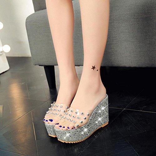 Compensé À Plate Femmes Été Mode Transparente Hauts Oyedens Pantoufles Strass Argenté Pente Talon Talons Avec Sandales Des forme Femme Chaussure D'été q5wZxYxUX