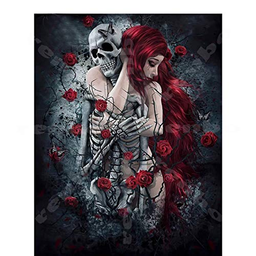 Decorative Home DIY Diamond Painting Skull Girl Woman Cross Stitch Horror Halloween Square 5D Diamond -