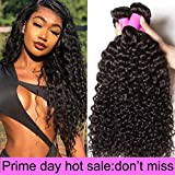 Ali Julia 10A Indian Virgin Curly Hair Weave 3 Bundles 12 10 8 inch 100% Unprocessed Remy Human Hair Extensions 95-100g/pc Natural Black Color